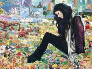Misoo Filan, 'Giant Asian Girl #6', acrylic, collage, resin on panel