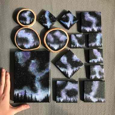 'Miniature Night Skies', acrylic by Nikki Laxar