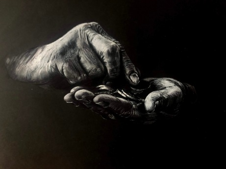 Amanda Brunell, Count your blessings, colored pencil on black paper