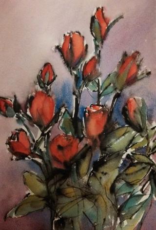 Cindy Morgan, Roses, watercolor