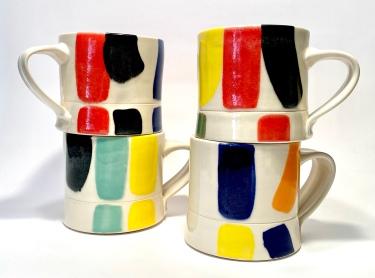 Colorscape Mugs, porcelain with colored glaze