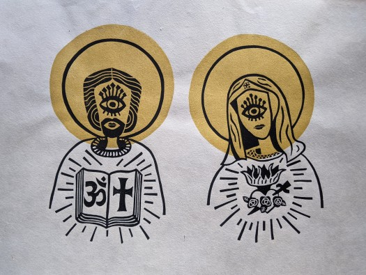 Lauren Giannullo, Messiah & Madonna, linocut print