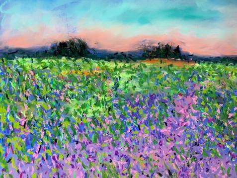 Linda Dulleba, Lavender Fields Forever, mixed media