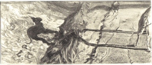 Little Big Dog by the Ditch, Solar Plate Etching